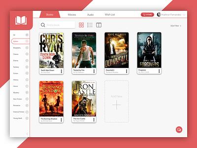 eBook Library Dashboard kindle google amazon elegant ui dashboard library ebook red