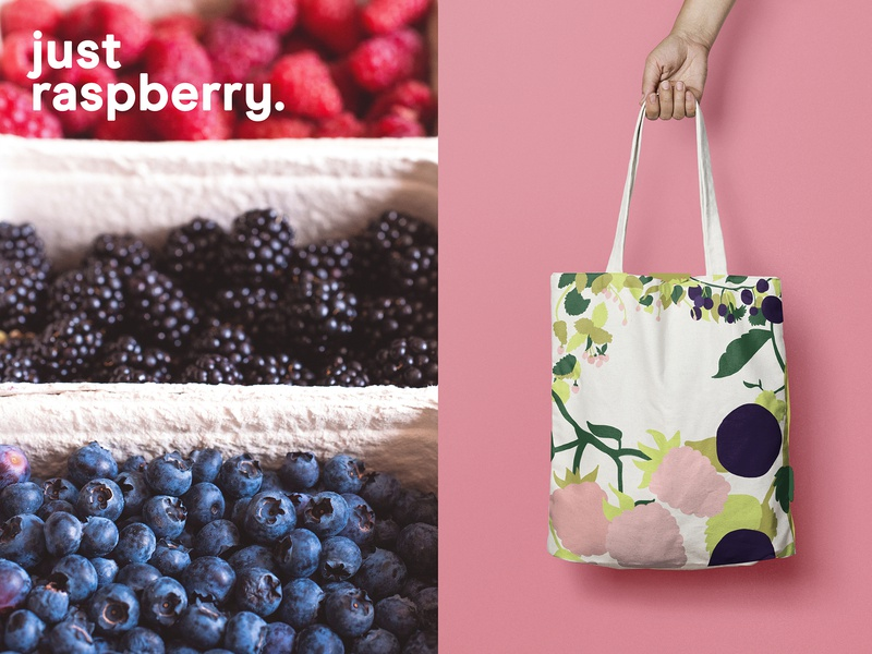 Raspberry Tote Bag tote brand jugos juice branding digital drawing illustration