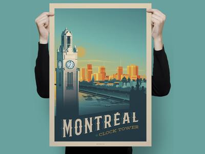 Montréal - Quebec Retro Travel Poster Illustration