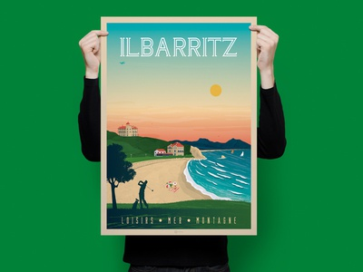 Ilbarritz - French Basque Country Travel Poster Illustration ilbarritz print digital landscape design vector cityscape vintage illustration poster france art