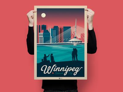 Winnipeg Esplanade Riel Canada Retro Travel Poster Illustration