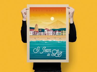 St Jean de Luz France Retro Travel Poster Illustration vintage st jean de luz vector print poster landscape illustration france digital design cityscape art