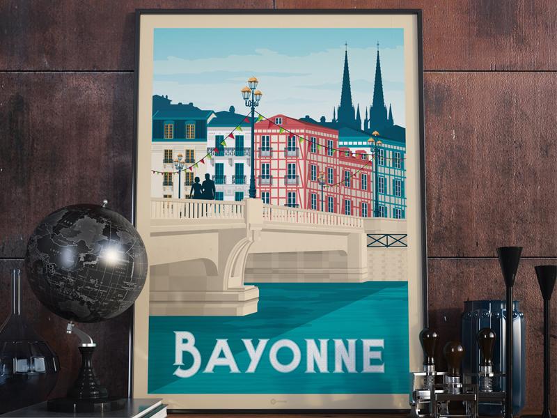 Bayonne France Retro Travel Poster Illustration vintage bayonne vector print poster landscape illustration france digital design cityscape art