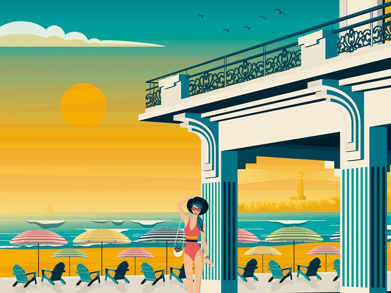 Biarritz France Retro Travel Poster Illustration vintage vector print poster landscape illustration france digital design cityscape biarritz art