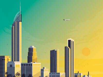 Gold Coast City Retro Travel Poster Illustration vector illustration vector design gold coast retro print poster illustration landmark cityscape australia art print