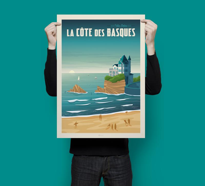 Travel poster cote des basques portrait   catalogue 3