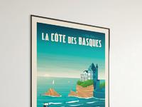 Travel poster cote des basques portrait   catalogue 1a