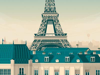 PARIS France Retro Travel Poster Illustration vector illustration vector design eiffel tower retro print poster illustration landmark cityscape paris france art print