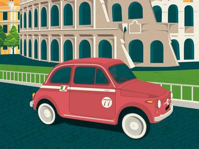 Rome Italy Retro Travel Poster Illustration vector illustration vector design retro print poster rome italy landmark illustration colosseo cityscape art print
