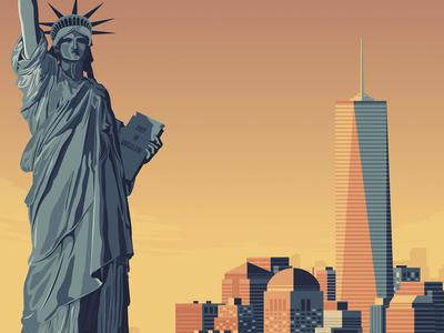 New York City USA Retro Travel Poster Illustration vector illustration vector design retro print poster manhattan landmark illustration new york city cityscape art print