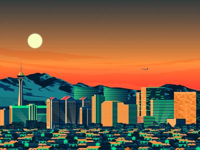 Las Vegas USA Retro Travel Poster Illustration vector vector design retro print city  poster las vegas skyline landmark illustration cityscape art print