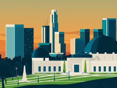 Los Angeles California Retro Travel Poster Illustration vector design california skyline retro print los angeles landmark illustration cityscape city poster art print