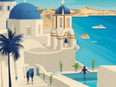 Santorini Island Greece Retro Travel Poster Illustration vector illustration vector design retro print poster greece islands landmark illustration santorini poster cityscape art print