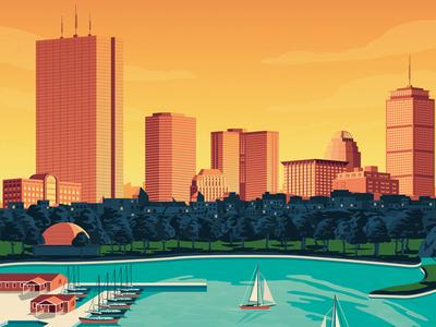 Boston USA Retro Travel Poster Illustration vector illustration vector design retro print poster america landmark city illustration boston cityscape art print