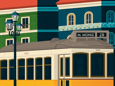 Lisbon Portugal Retro Travel Poster Illustration