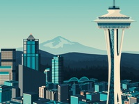 Seattle USA Travel Poster - City illustration