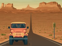 Monument Valley Nevada - Retro Travel Poster Illustration