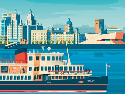 Liverpool UK England Retro Travel Poster Illustration design vintage retro print boat sailing architecture vector illustration skyline landmark vector design art print vector landscape poster illustration cityscape united kingdom uk england liverpool