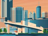 Atlanta USA Retro Travel Poster Illustration