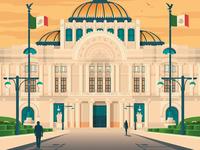 Mexico City Retro Travel Poster Illustration