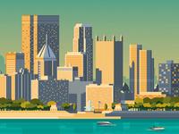 Pittsburgh USA Retro Travel Poster Illustration