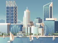 Perth Australia Retro Travel Poster Illustration