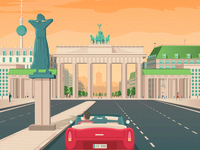 Berlin Germany Retro Travel Poster Illustration