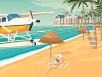 Key West Florida Retro Travel Poster City Illustration