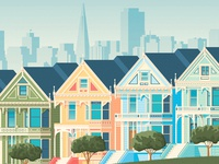 San Francisco Retro Travel Poster City Illustration landscape vector illustration design illustration urban skyline blue green red yellow pink building architecture house tree landmark art print retro vintage travel poster city map flat  design vector design cityscape painted ladies landcape san francisco california