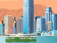 Hong Kong Retro Travel Poster City Illustration