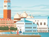 Venice Italy Retro Travel Poster Illustration