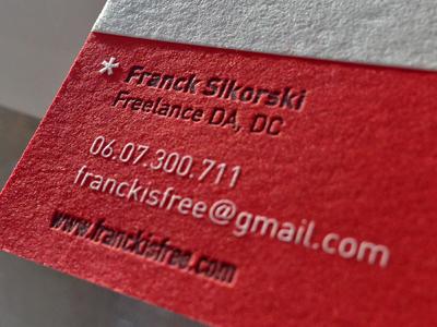 Franck Is Free letterpress knockout register solid red business card