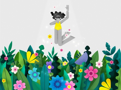 Spring is coming green nature spring graphic design flat affinity designer girl vector illustration character