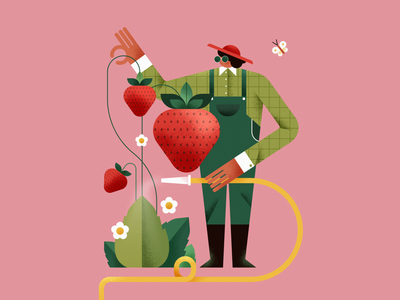 Berry berry strawberry berry berry 🍓 garden berries berry strawberries strawberry nature design graphic girl flat vector illustration character graphic design affinity designer