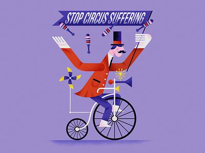 Stop circus suffering circus character design flat vector illustration affinity designer graphic design