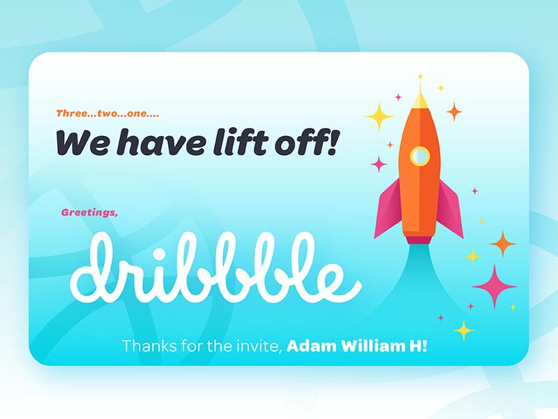 We have lift off! | Dribbble debut shot space ship rocket landing page gradient flat typography vector graphic design illustration debut