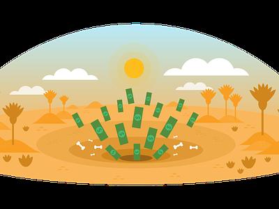 Moneypit Of Doom Snowglobe quicksand pit sarlac gold yellow colorful playful illustration art illustrator humor guide insurance sales fianance sandpit sand pyramids travel egypt desert