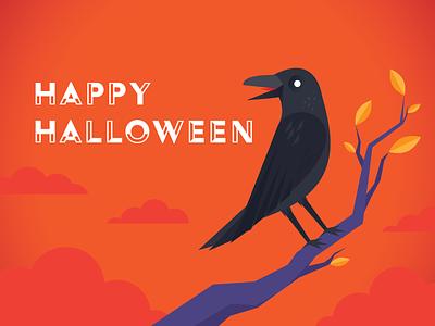 Happy Halloween, dribbble! design illustration colorful playful crow bird simple all hallows eve vector orange spooky corvus corax raven halloween