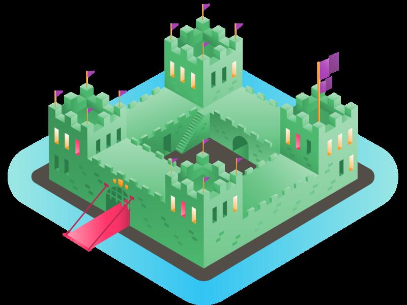 Block Fortress design playful vector illustration colorful isometric illustration lego citadel drawbridge moat buidling city block medieval perspective 3d isometric fortress castle