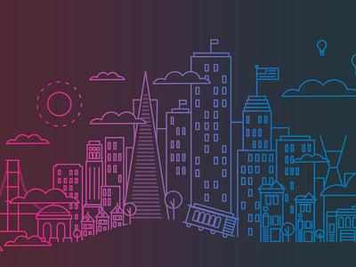 San Francisco | Neon City gradient vector lineart stroke line travel san francisc city design colorful illustration