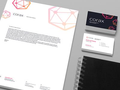 Branding Identity | Corax corporate identity gradient graphicdesign collateral stationary letterhead business card logodesign logo brand identity branding brand