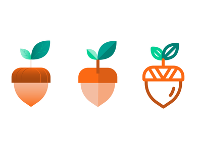 One Acorn, Three Ways — Illustrated Icons forest leaf logo fill shading lineart icons icon illustrated nature nut leaves leaf acorn design branding gradient vector illustration