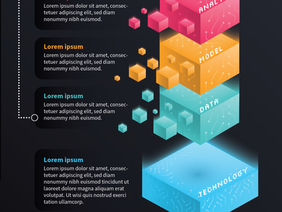 Infographic | Technology Model technical gradient vector information cube isometric 3d analytics model data technology tech infographic