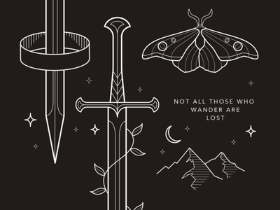 Middle Earth | Details illustration gondor aragorn narsil stroke vector lineart jrr tolkien tolkien middle earth mountains moth lord of the rings lotr medieval sword