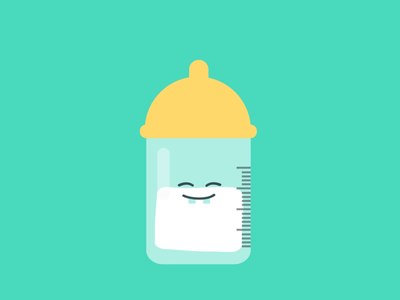 baby bottle vector brand identity app design flat character animation motion graphic creative motion loop gif babysitter children baby animation