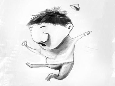Mr. Miyagi Jr. scribble black and white angry chinese