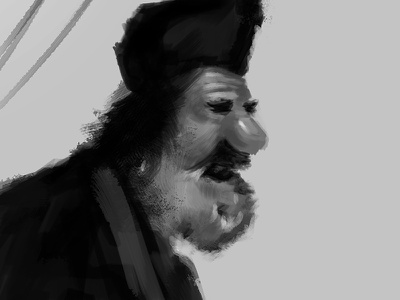 Old Russian Man speed paint brushes black and white scribble