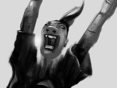 Fighting Woman speed paint scribble black and white fighting woman