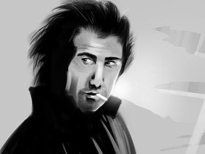 Dustin Hoffmann dustin hoffmann midnight cowboy black and white scribble