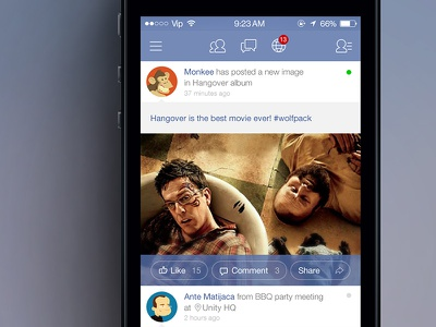 Facebook iOS 7 News Feed facebook news feed ios7 iphone comment ios concept redesign flat